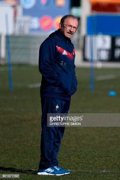 France's head coach Jacques Brunel stands during a training session of the French national rugby team at the Maurice David stadium in AixenProvence...