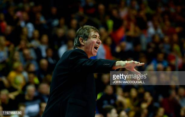 France´s head coach Laurent Tillie reacts during the Men's CEV Tokyo Volleyball European Qualification 2020 final match France vs Germany at the Max...