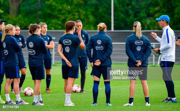 France's head coach Olivier Echouafni addresses players of France's women national soccer team during a training during the UEFA Women's Euro 2017...