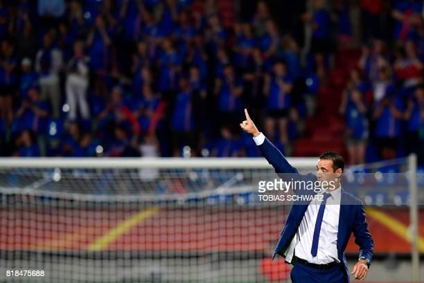 France's head coach Olivier Echouafni reacts after the UEFA Women's Euro 2017 football tournament match between France and Iceland at Stadium Koning...