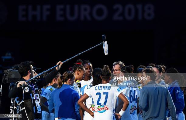 France's head coach Olivier Krumbholz gives instructions to his players during the EHF EURO 2018 European Women's Handball Championship semifinal...
