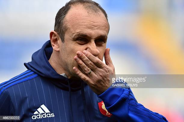 France's head coach Philippe Saint Andre looks on during the captain's run of his team on March 14 at the Olympic Stadium in Rome on the eve of the...