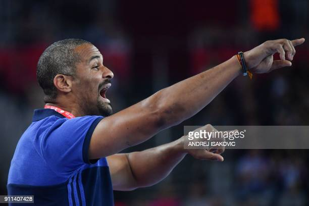 France's headcoach Didier Dinart shouts instructions during the match for third place of the Men's 2018 EHF European Handball Championship between...
