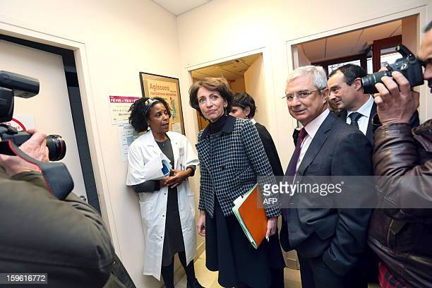 France's Health minister Marisol Touraine and French National Assembly president Claude Bartolone visit 'La maternite des Lilas' maternity on January...