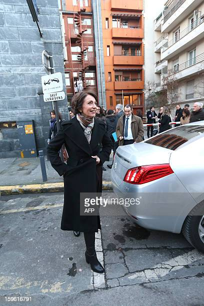 France's Health minister Marisol Touraine leaves after visiting 'La maternite des Lilas' maternity on January 17 2013 in the Parisian suburban city...
