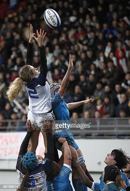 France's hooker Gaelle Mignot vies in a lineout during the Women's Six Nations rugby union match France vs England at the Stade Ernest Argeles in...