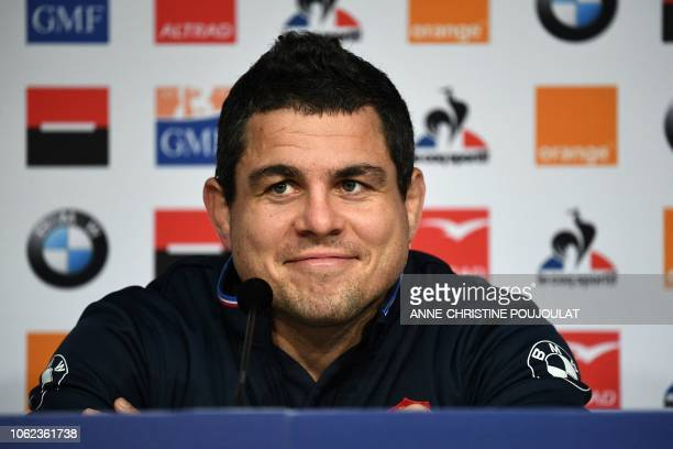France's hooker Guilhem Guirado smiles during a press conference on November 16, 2018 at the Pierre Mauroy Stadium in Villeneuve d'Ascq, near Lille,...