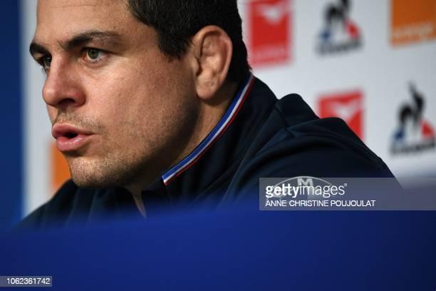 France's hooker Guilhem Guirado speaks during a press conference on November 16, 2018 at the Pierre Mauroy Stadium in Villeneuve d'Ascq, near Lille,...