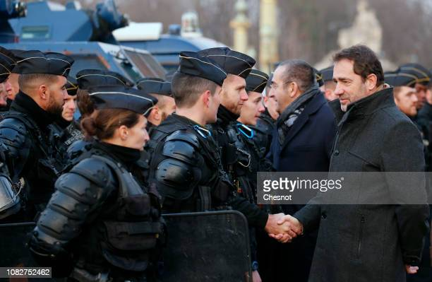 France's Interior Minister Christophe Castaner visits French gendarmes on the Concorde square before the demonstration of the Yellow vests on...