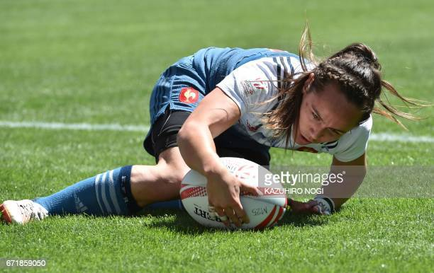 France's Jade Le Pesq scores a try against Russia during their fifth place semifinals at the World Rugby Women's Seven Series in Kitakyushu Fukuoka...