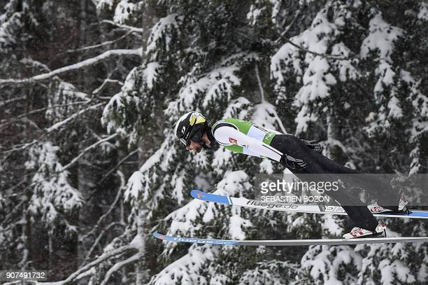 France's Jason LamyChappuis competes during the Men's Gundersen of the FIS Nordic Combined World Cup in ChauxNeuve eastern France on January 20 2018...