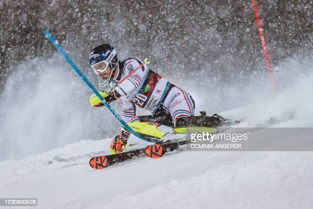 France's Jean-Baptiste Grange competes during the first run of the men's Slalom event at the FIS Alpine Ski World Cup in Schladming, Austria on...