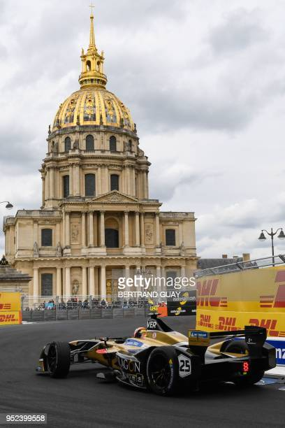 France's JeanEric Vergne of the Formula E team Techeetah competes during the practice session of the French stage of the Formula E championship...