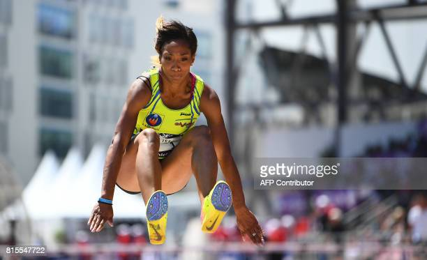 France's Jeanine Assani Issouf competes in the Women's triple jump final during the Athletics French Championships Elite, in Marseille, southern...