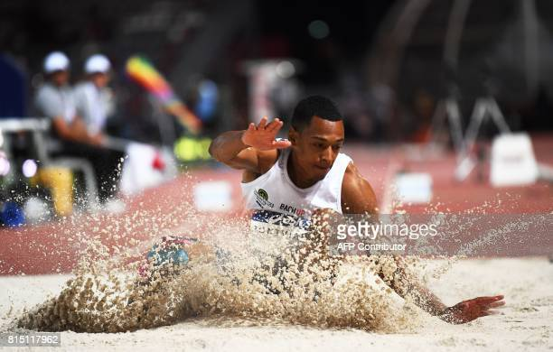 France's JeanMarc Pontvianne competes in the Men's triple jump finale during the Athletics French Championships Elite in Marseille southern France on...