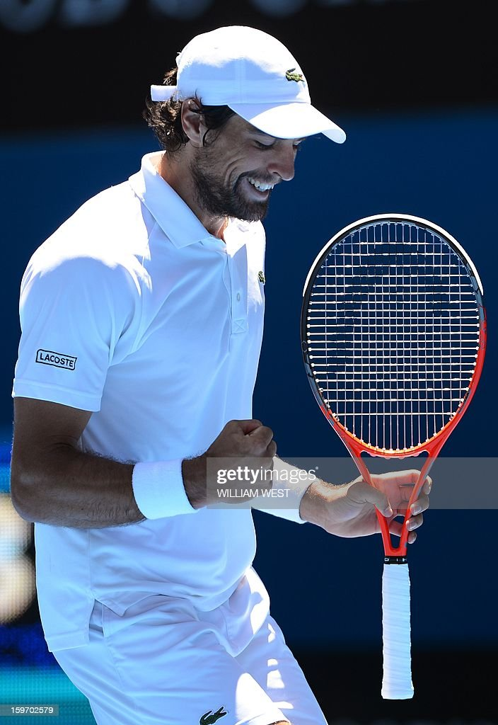 France's Jeremy Chardy reacts after a point against Argentina's Juan Martín Del Potro during their men's singles match on day six of the Australian Open tennis tournament in Melbourne on January 19, 2013.