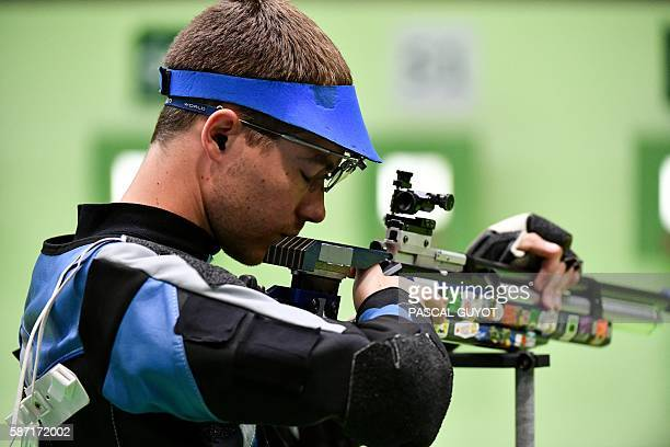 France's Jeremy Monnier competes during the men's 10m Air Rifle at the Olympic Shooting Centre in Rio de Janeiro on August 8 during the Rio 2016...