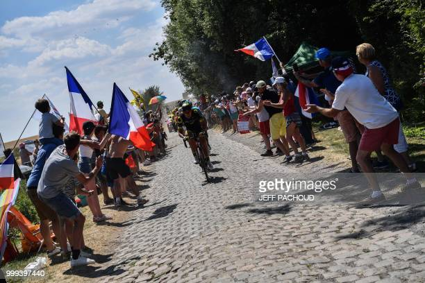 France's Jerome Cousin leads a nine-men breakaway in the first cobblestone section of Escaudoeuvres - Thun during the ninth stage of the 105th...