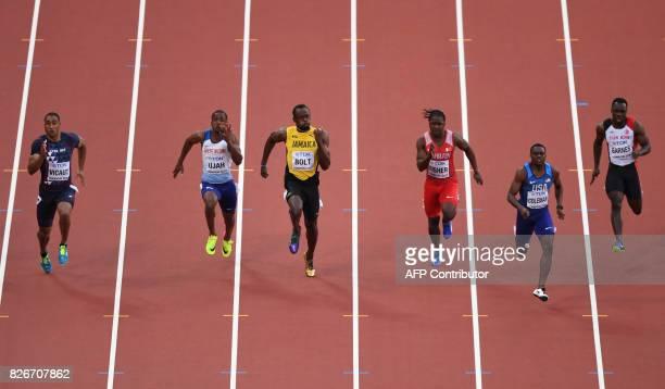 France's Jimmy Vicaut Britain's Chijindu Ujah Jamaica's Usain Bolt Bahrain's Andrew Fisher US athlete Christian Coleman and Turkey's Emre Zafer...