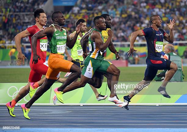 France's Jimmy Vicaut competes in the Men's 100m Semifinal during the athletics event at the Rio 2016 Olympic Games at the Olympic Stadium in Rio de...
