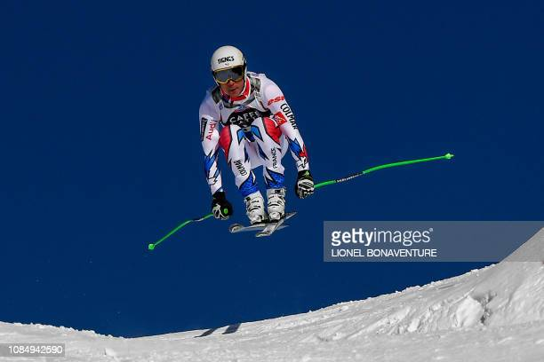 France's Johan Clarey competes in the Men's Downhill of the Lauberhorn during the FIS Alpine Ski World Cup on January 19 in Wengen