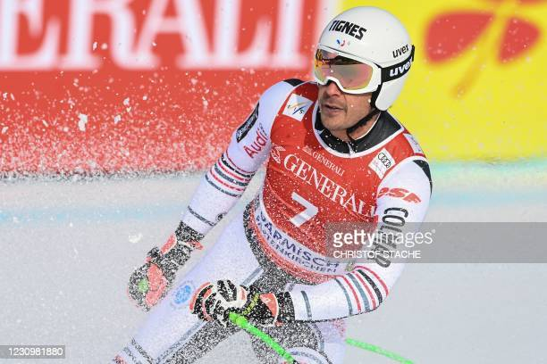 France's Johan Clarey reacts after competing in the men's downhill event of the FIS Alpine Skiing World Cup in Garmisch-Partenkirchen, southern...