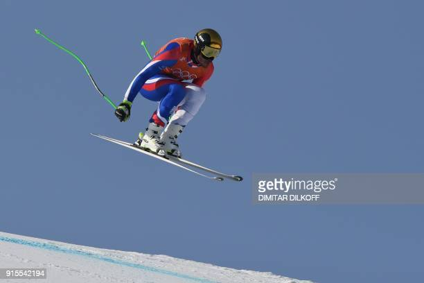 France's Johan Clarey takes part in the Men's Downhill 1st training at the Jeongseon Alpine Center during the Pyeongchang 2018 Winter Olympic Games...