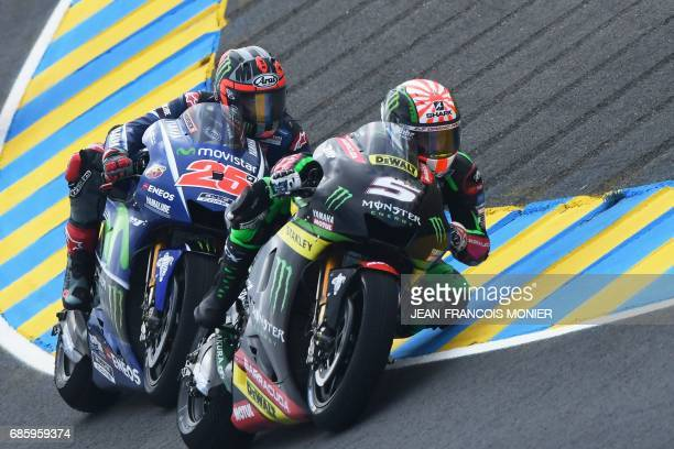 TOPSHOT France's Johann Zarco competes on his Monster Yamaha TECH 3 MOTOGP N°5 ahead Spanish's rider Maverick Vinales on his Movistar Yamaha MOTOGP...