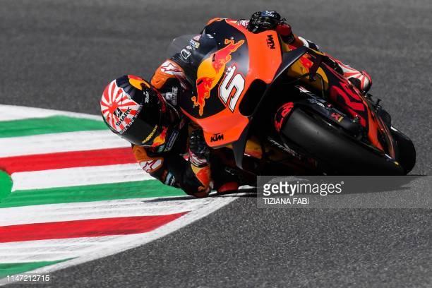 France's Johann Zarco rides his KTM during Qualifying 1 ahead the Italian Moto GP Grand Prix at the Mugello race track on June 1, 2019 in Scarperia e...