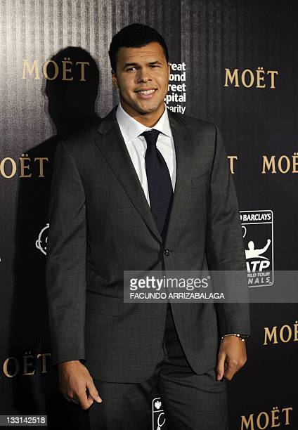 France's JoWilfried Tsonga arrives for a ATP tennis gala in London on November 17 ahead of the ATP World Tour Finals tennis tournament which will...