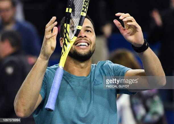 TOPSHOT France's JoWilfried Tsonga celebrates after winning the final of the Open Sud de France ATP World Tour in Montpellier southern France on...