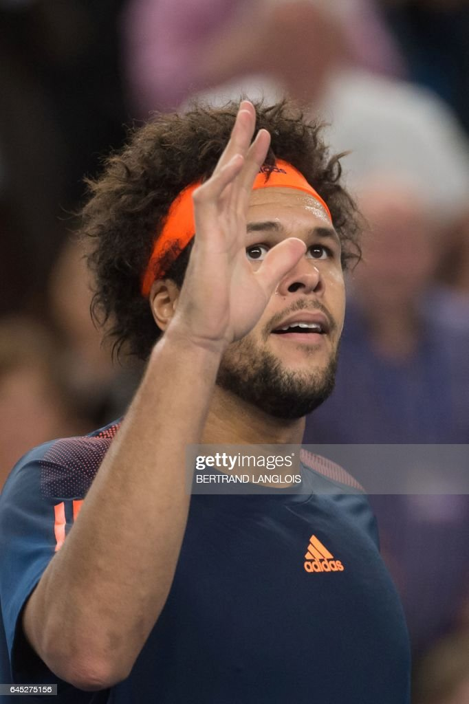 France's Jo-Wilfried Tsonga celebrates during his ATP Marseille Open 13 semi-final tennis match against Australia's Nick Kyrgios in Marseille, southern France, on February 25, 2017. /