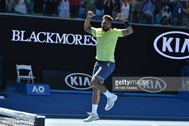 France's JoWilfried Tsonga celebrates his victory against Canada's Denis Shapovalov during their men's singles second round match on day three of the...