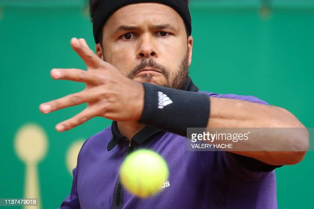 TOPSHOT France's JoWilfried Tsonga eyes the ball before playing a forehand return to US Taylor Fritz during their tennis match on the day 4 of the...