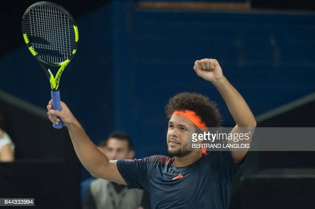 France's Jo-Wilfried Tsonga gestures after returning the ball to Ukraine's Illya Marchenko during the ATP Marseille Open 13 tennis match in...