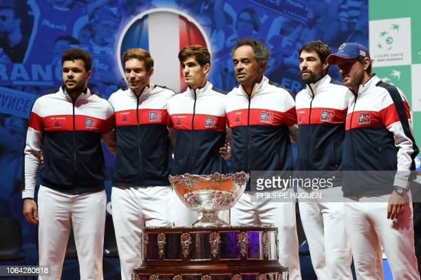 France's JoWilfried Tsonga Nicolas Mahut PierreHugues Herbert France's team captain Yannick Noah Jeremy Chardy and Lucas Pouille pose with the Davis...
