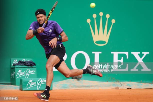 France's JoWilfried Tsonga plays a forehand return to US Taylor Fritz during their tennis match on the day 4 of the MonteCarlo ATP Masters Series...