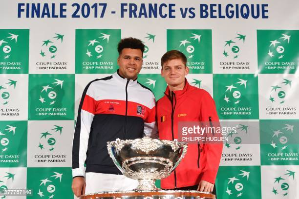 France's JoWilfried Tsonga poses with Belgium's David Goffin during the team presentation in Villeneuved'Ascq on November 23 ahead of the Davis Cup...