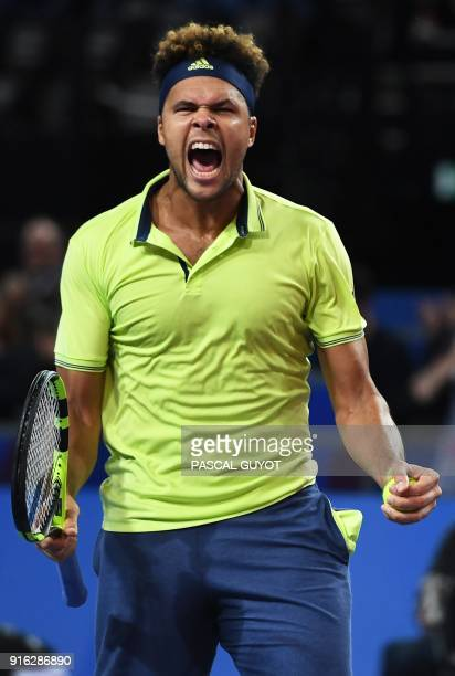 France's JoWilfried Tsonga reacts after winning against Russia's Andrey Rublev during their quarterfinal singles tennis match at the Open Sud de...