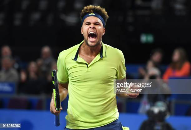 TOPSHOT France's JoWilfried Tsonga reacts after winning against Russia's Andrey Rublev during their quarterfinal singles tennis match at the Open Sud...