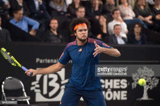 France's Jo-Wilfried Tsonga returns the ball to Ukraine's Illya Marchenko during the ATP Marseille Open 13 tennis match in Marseille, southern...
