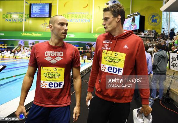 France's Jérémy Stravius speaks with Yannick Agnel after Stravius won the men's 200 m freestyle final of the French swimming championship in...