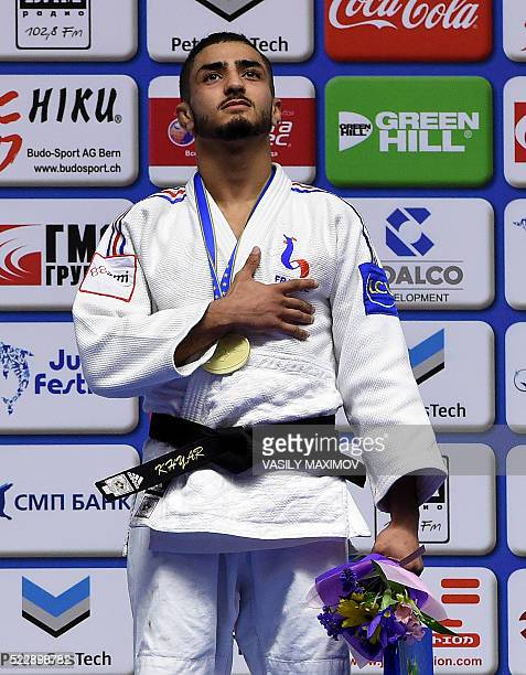 France's judoka Walide Khyar poses with a gold medal after winning the 60 kg category competition at the European Judo Championships in Kazan on...