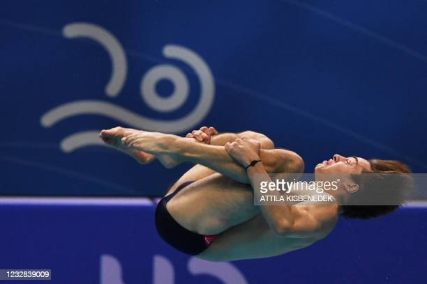 France's Jules Bouyer competes in the preliminary for the Men's 1m Springboard Diving event during the LEN European Aquatics Championships at the...