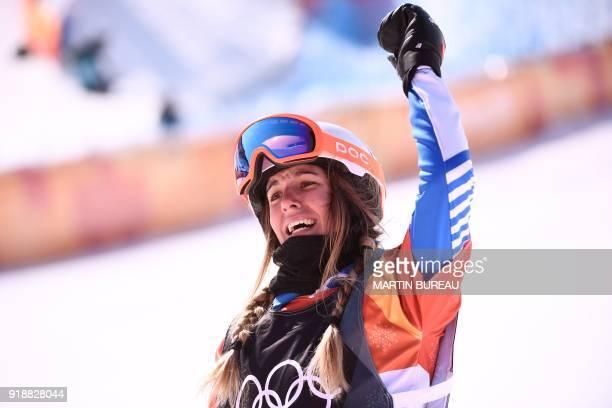 France's Julia Pereira De Sousa Mabileau celebrates after the women's snowboard cross big final at the Phoenix Park during the Pyeongchang 2018...
