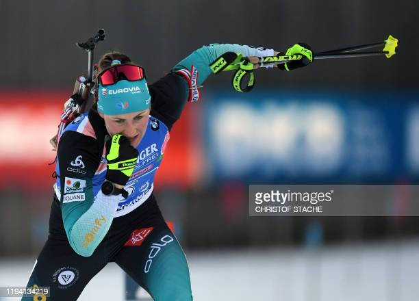 France's Julia Simon leaves the shooting range during the women's 4x6km relay event at the Biathlon World Cup in Ruhpolding, southern Germany, on...
