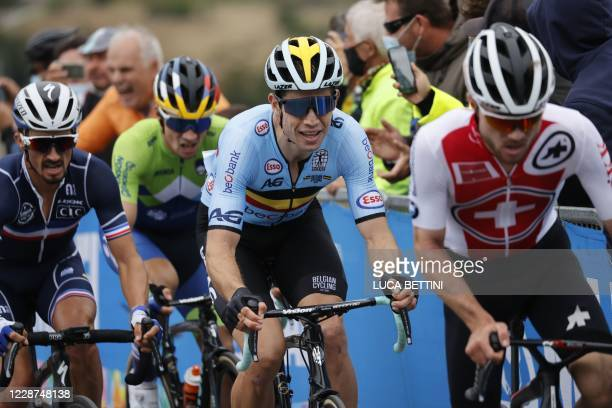 France's Julian Alaphilippe and Belgium's Wout van Aert ride during their breakaway in the Men's Elite Road Race, a 258.2-kilometer route around...