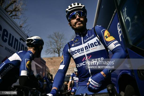 France's Julian Alaphilippe prepares to take the start of the one-day classic race Strade Bianche on March 9, 2019 in Siena, Tuscany.