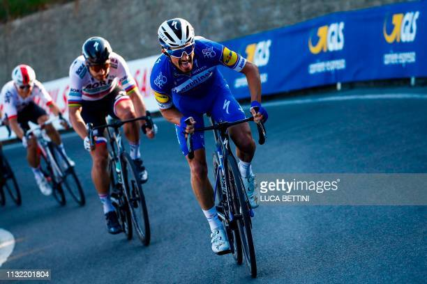 France's Julian Alaphilippe rides during an attack in the Poggio ascent during the oneday classic cycling race Milan San Remo on March 23 2019
