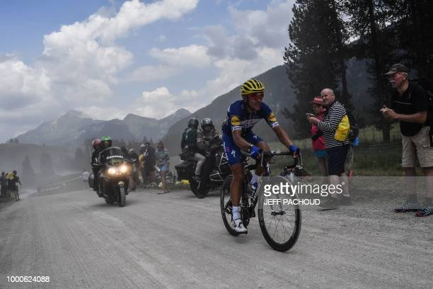 France's Julian Alaphilippe rides in the ascent of the Plateau des Glieres during the tenth stage of the 105th edition of the Tour de France cycling...
